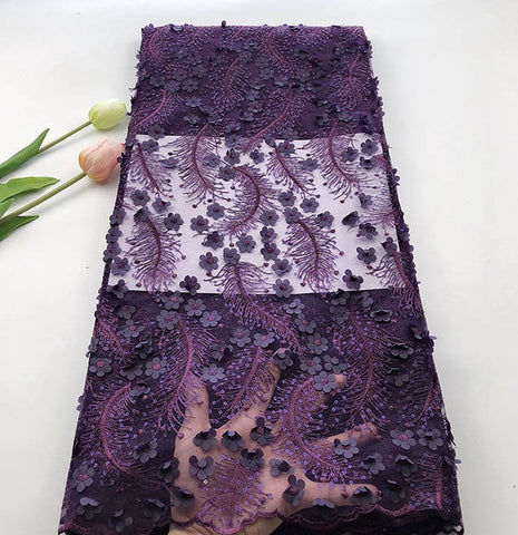 Image of 5 Yards/pc Most popular Dark Purple french net lace fabric with 3D  flower decoration african mesh lace for dress