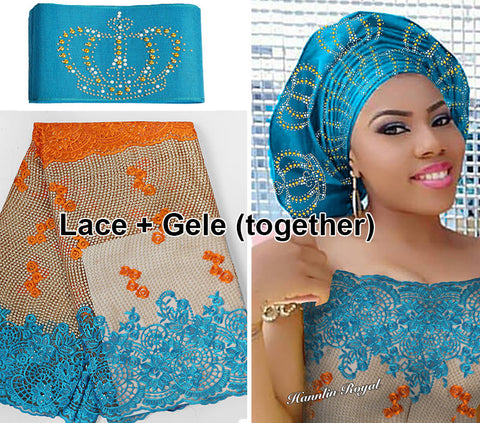 Image of 5 yards African French lace Tulle Fabric Guipure bordered Matching Crown ASO OKE Headtie Full Length Head Tie Gele Headscarf