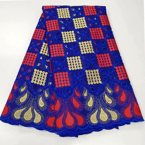 Image of 5 yards Fashionable African Swiss voile lace fabric soft Nigerian Ghana traditional clothes with stones high quality hot sale