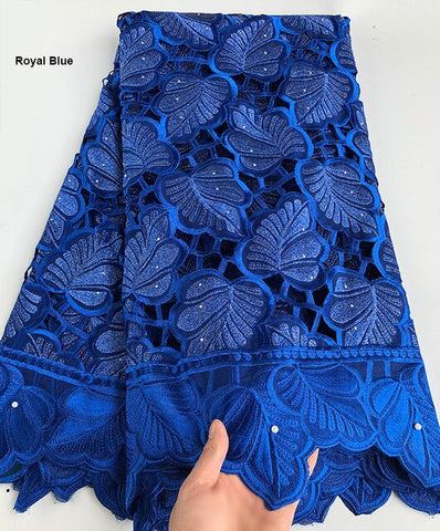 Image of 5 yards Hand cut cotton lace Holed embroidery African swiss Lace fabric heavy Nigerian Ghana national clothes