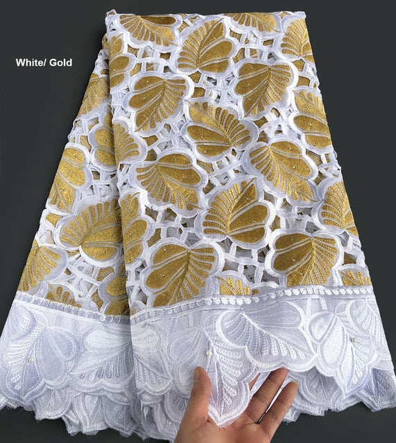 5 yards Hand cut cotton lace Holed embroidery African swiss Lace fabric heavy Nigerian Ghana national clothes