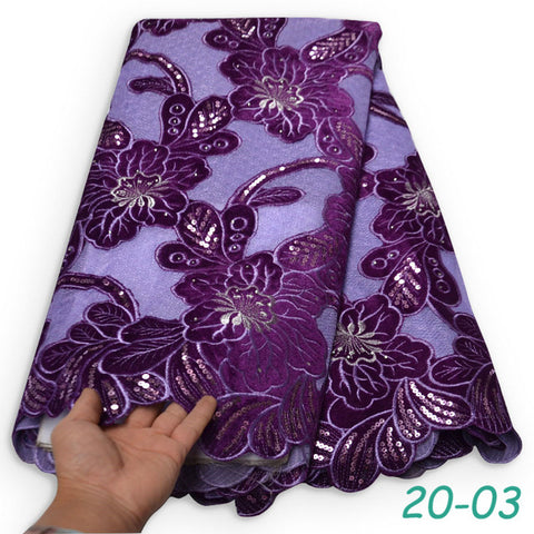 5 yards Plain Lilac Handcut organza lace with sequins holed African lace fabric Big Nigerian sewing dress clothes 04