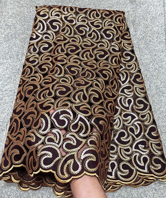 5 yards Soft coffee Handcut African Organza lace Fabric with sequins Nigerian Ghana occasional sewing wear high quality