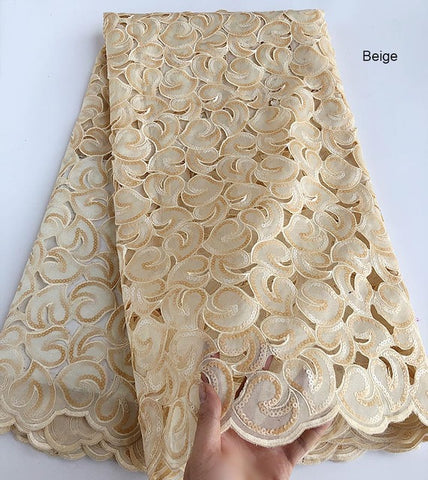 Image of 5 yards Soft coffee Handcut African Organza lace Fabric with sequins Nigerian Ghana occasional sewing wear high quality