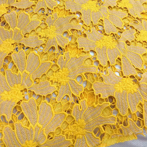 Image of 5 yards Yellow Gold smooth cotton Guipure Lace African Cord lace Soft Nigerian Swiss garment cloth Skin Healthy High quality