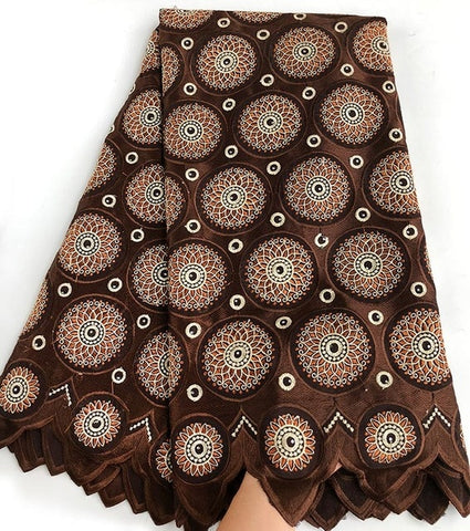 Image of 5 yards brown Coffee African Handcut Swiss voile lace fabric soft Nigerian Ghana traditional clothes with stones high quality
