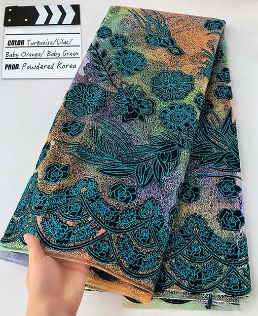 5 yards sparkling Korea lace multicolors Velvet African french tulle fabric Unique Nigeria Dubai celebration wear sewing clothes