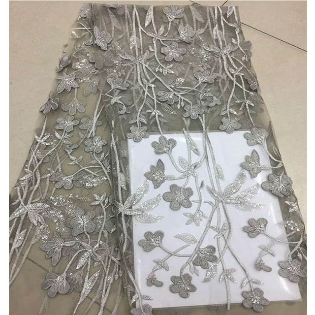 5 yards white Handcut lace fabric African organza lace with lots of sequins high quality and exclusive for wedding big occasion