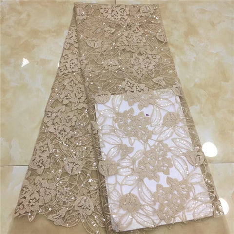 Image of 5yards Nigerian Tulle Lace 2019 French Net Beaded Lace Fabric For Nigerian Wedding Embroidery African Lace Fabric       XZXOC011