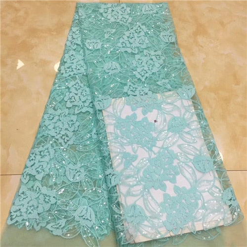 5yards Nigerian Tulle Lace 2019 French Net Beaded Lace Fabric For Nigerian Wedding Embroidery African Lace Fabric       XZXOC011