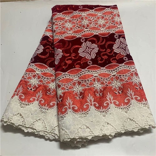 5yards african stones mesh velvet lace fabric good quality embroidery net tulle lace fabric with velvet cloth for dress DFAP231