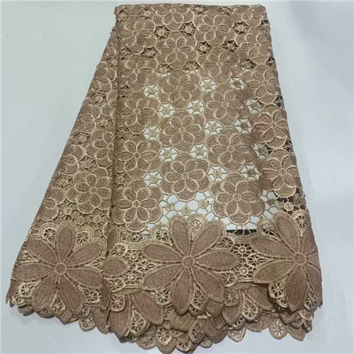5yards good quality african water soluble lace fabric newcoming fashion guipure lace fabric for dress sewing    DFAP213
