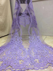 (5yards/pc) Fine and neat embroidered African tulle lace lilac purple French net lace fabric with sequins for party dress FZZ508