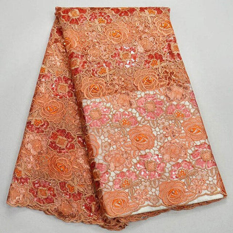 Image of (5yards/pc) high quality African handcut organza lace fabric in Orange with beautiful sequins embroidery for party dress
