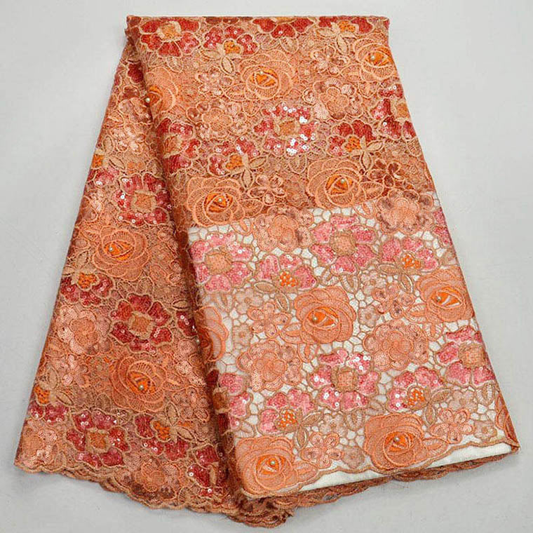 (5yards/pc) high quality African handcut organza lace fabric in Orange with beautiful sequins embroidery for party dress