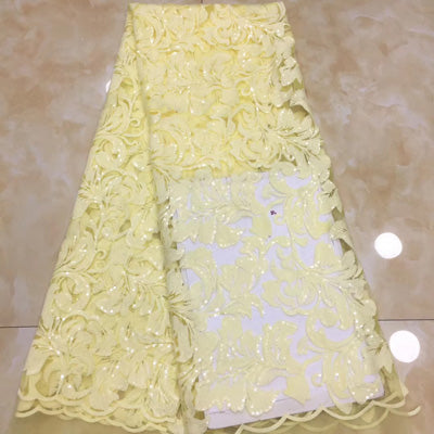 Image of (5yards/pc) light yellow African tulle lace fabric beautiful French net lace with fully embroidery and sequins for party  FZX032