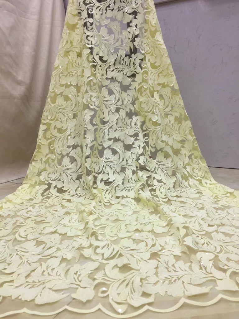 (5yards/pc) light yellow African tulle lace fabric beautiful French net lace with fully embroidery and sequins for party  FZX032