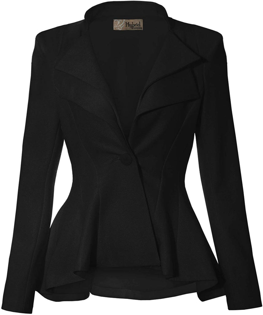 HyBrid & Company Women Double Notch Lapel Sharp Shoulder Pad Office Blazer