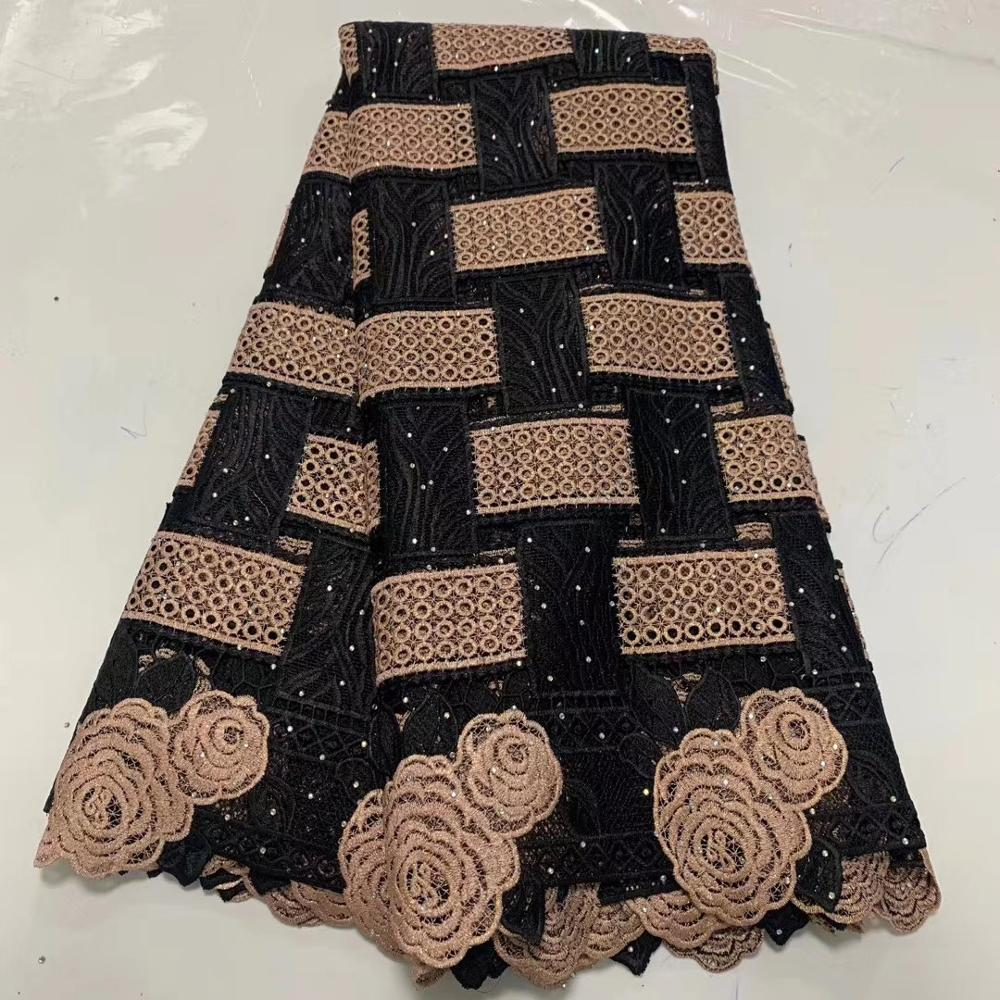 6colors (5yards/pc) black gold African guipure lace fabric high quality water soluble lace 2020 newest for party dress  WLA029