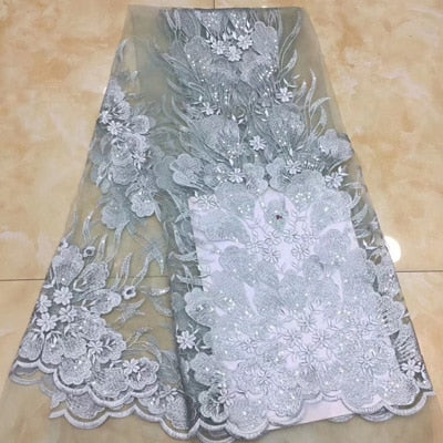 Image of 7 colors (5yards/pc) fancy embroidered tulle lace white color African French net lace fabric with sequins for wedding  FZZ745