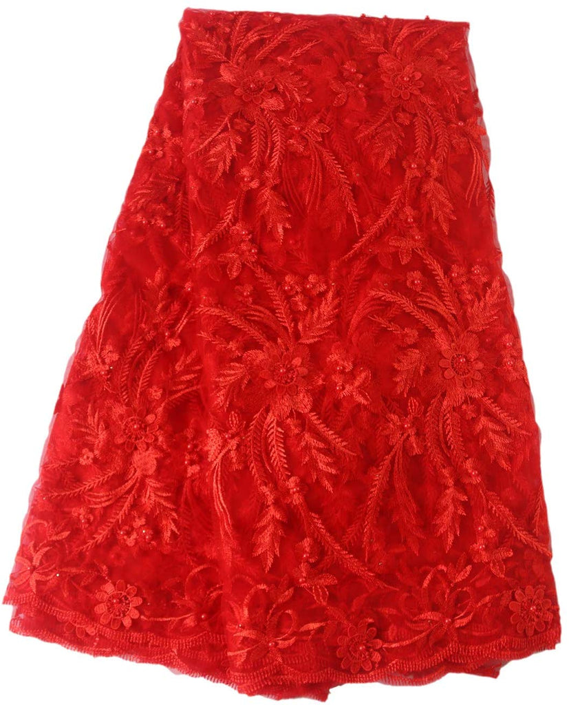 Aisunne African Lace Fabrics 5 Yards Nigerian French Lace Fabric with 3D Flower Fashion Embroidered Beading for Wedding Party Dresses (Red)