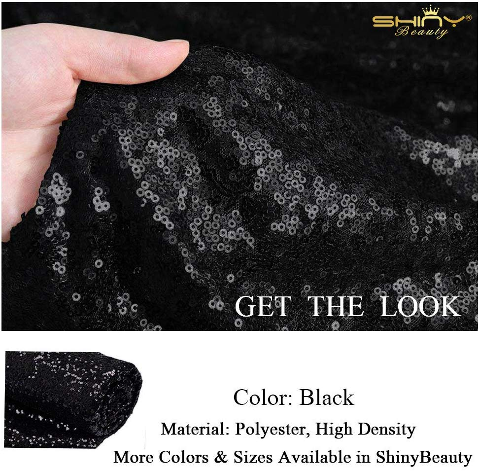 3 Feet 1 Yards-Sequin Fabric, by The Yard, Sequin Fabric, Tablecloth, Linen, for Xmas Decor (Black)