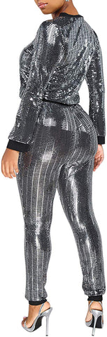 Image of 2 Piece Night Clubwear Outfits for Women Long Sleeve Top+Metallic Shiny Pants Glitter Clubwear