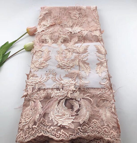 Africa Lace Fabric Elegant design Nigeria 3d flower Advanced Embroidery fabric With feathers and stones Used for party dresses