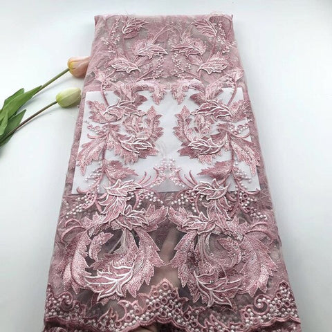 Image of Africa Lace Fabric Elegant design Nigeria 3d flower Advanced Embroidery fabric With feathers and stones Used for party dresses
