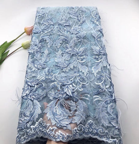 Africa Lace Fabric High Quality 3D flower Embroidery With feathers and stones Nigeria tulle Mesh Fabric Used for party dresses