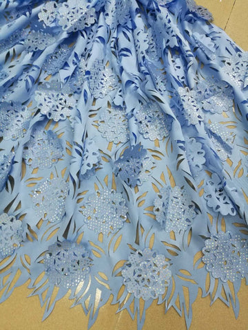 Image of Africa's best-selling laser-cut lace fabrics high quality French tulle lace fabrics for Nigerian wedding party lace