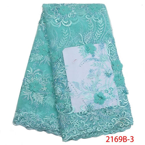 African 3D Lace Fabric 2018 High Quality Lace Material Embroidery Nigerian Lace Fabric With Beads French Lace Fabric NA2169B-2