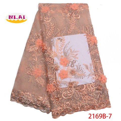 Image of African 3D Lace Fabric 2018 High Quality Lace Material Embroidery Nigerian Lace Fabric With Beads French Lace Fabric NA2169B-2