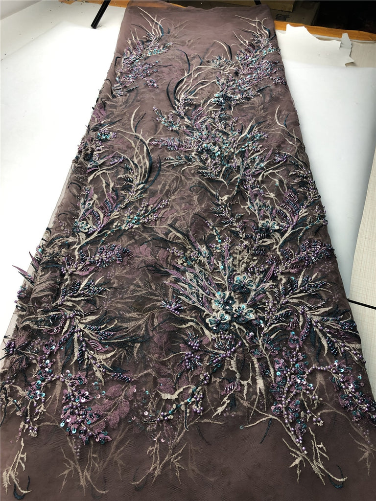 African 3D Lace Fabric High Quality Lace 5 yards French Embroidery Net Lace Fabric for Wedding Party with Beads stone      H0147