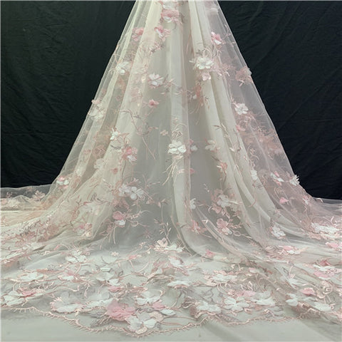 African 3d Lace Fabric For Wedding Latest Nigerian Lace Fabric 2019 High Quality Lace Tulle French Lace Fabric A1-1217