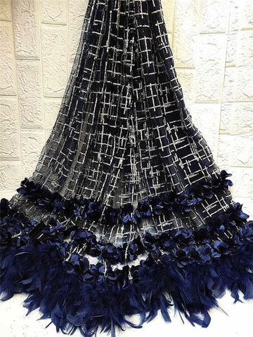 Image of African Beaded 3D Tulle Lace Fabric 2019 African French Lace Fabric High Quality Nigerian Embroidery Mesh French Lace ZHA1-3