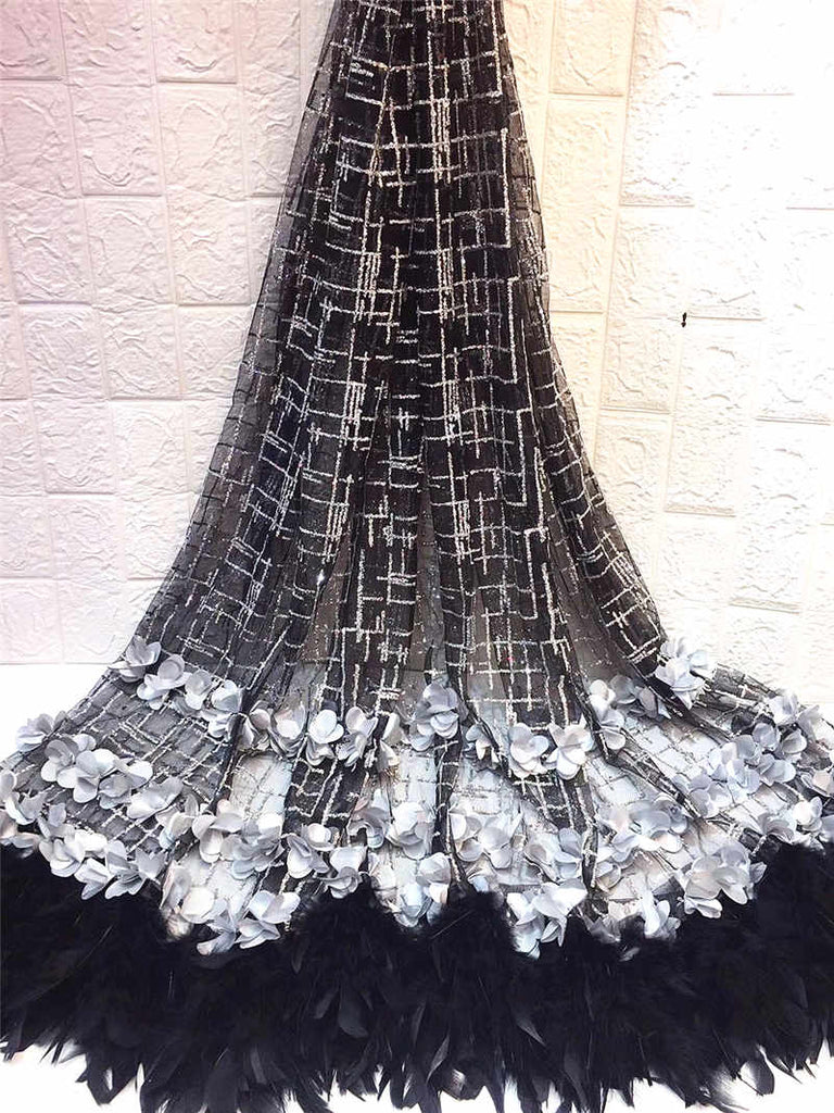African Beaded 3D Tulle Lace Fabric 2019 African French Lace Fabric High Quality Nigerian Embroidery Mesh French Lace ZHA1-3