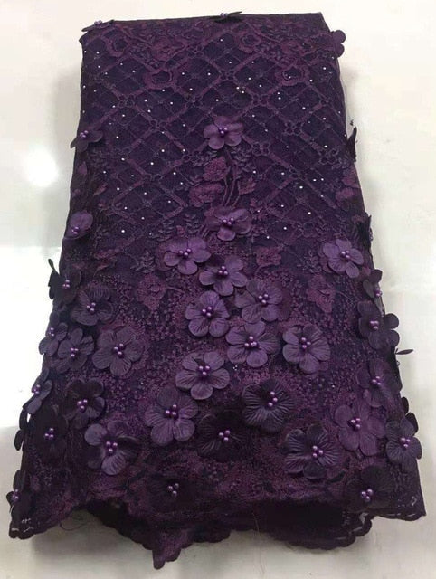 African Beaded 3D Tulle Lace Fabric 2019 African French Lace Fabric High Quality Nigerian Embroidery Tulle French Lace Z80