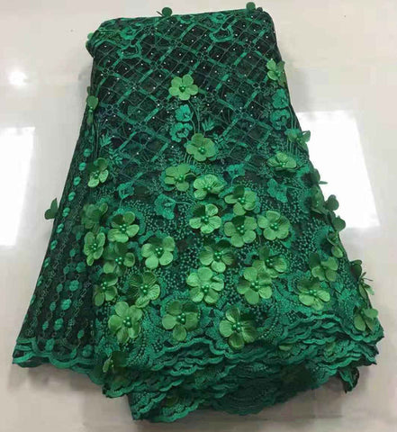 Image of African Beaded 3D Tulle Lace Fabric 2019 African French Lace Fabric High Quality Nigerian Embroidery Tulle French Lace Z80