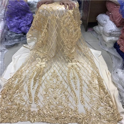 Image of African Beaded Lace Fabric 2018 High Quality Lace Material Gold French Lace Fabric Nigerian Tulle Mesh Lace Fabrics1204-1