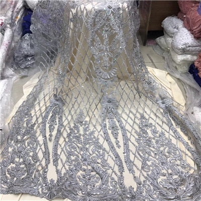 African Beaded Lace Fabric 2018 High Quality Lace Material Gold French Lace Fabric Nigerian Tulle Mesh Lace Fabrics1204-1