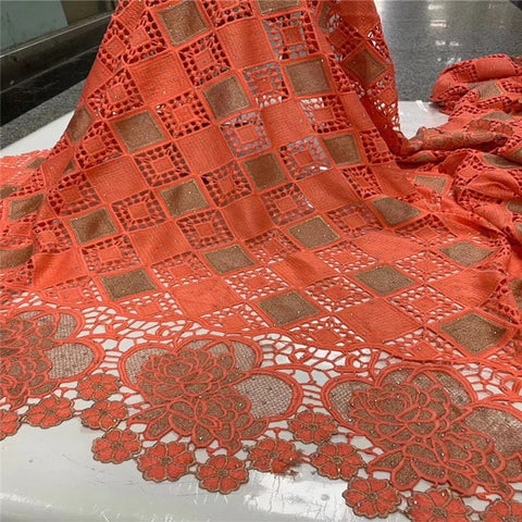 Image of African Cord Guipure Lace Fabric High Quality Guipure Lace Fabric 5 yards Embroidery African Women Dress  NLY107