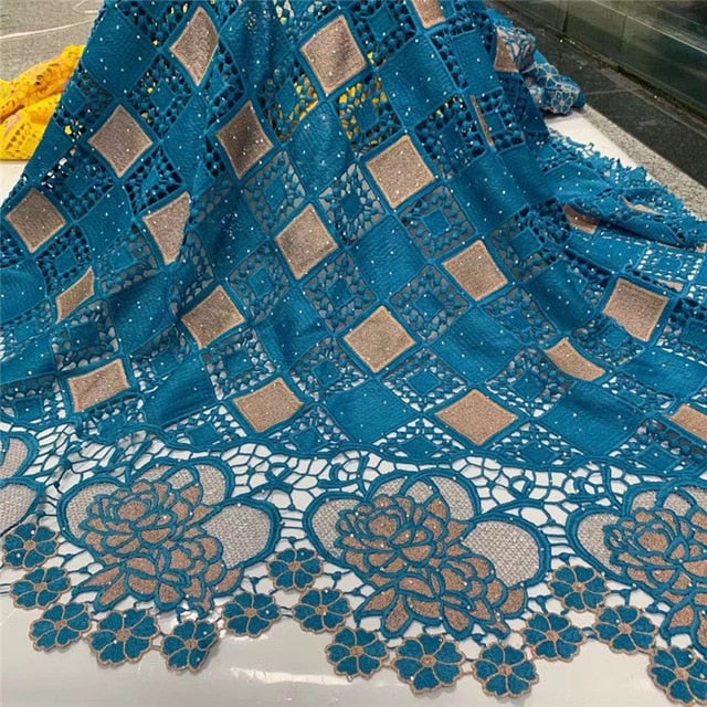 African Cord Guipure Lace Fabric High Quality Guipure Lace Fabric 5 yards Embroidery African Women Dress  NLY107