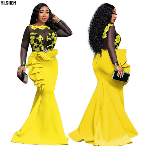 Image of African Dresses For Women Ladies Long Party Mermaid Africa Dress African Clothes Sexy Mesh Ruffles Evening Bodycon Maxi Dress