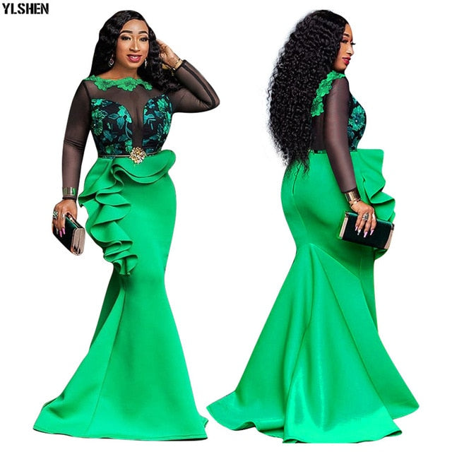 African Dresses For Women Ladies Long Party Mermaid Africa Dress African Clothes Sexy Mesh Ruffles Evening Bodycon Maxi Dress