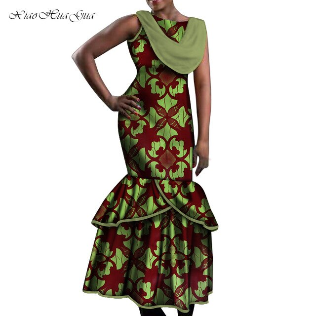 African Dresses for Women Party Wedding Sexy Date Dashiki African Women Mermaid Dresses 2020 Trend Ankara Dress Plus Size WY5535