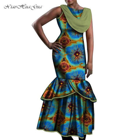 Image of African Dresses for Women Party Wedding Sexy Date Dashiki African Women Mermaid Dresses 2020 Trend Ankara Dress Plus Size WY5535
