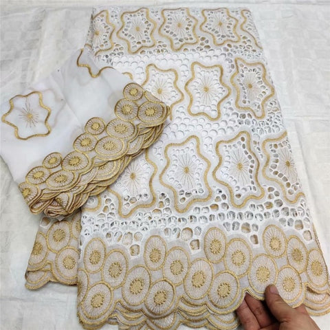 Image of African Dry Cotton Lace Fabric High Quality Embroidery Nigerian Lace Wedding Stones Swiss Voile Lace In Switzerland 5+2 Yards