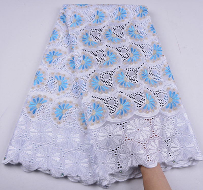 African Dry Lace Fabric High Quality For Men Cotton Lace French Lace Fabric With Stones Swiss Voile Lace In SwitzerlandA1296
