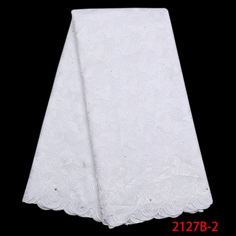 Image of African Dry Lace Fabrics High Quality Cotton Lace Fabric Fashion Swiss Voile Lave Fabric For Nigerian Party Dresses NA2127B-2